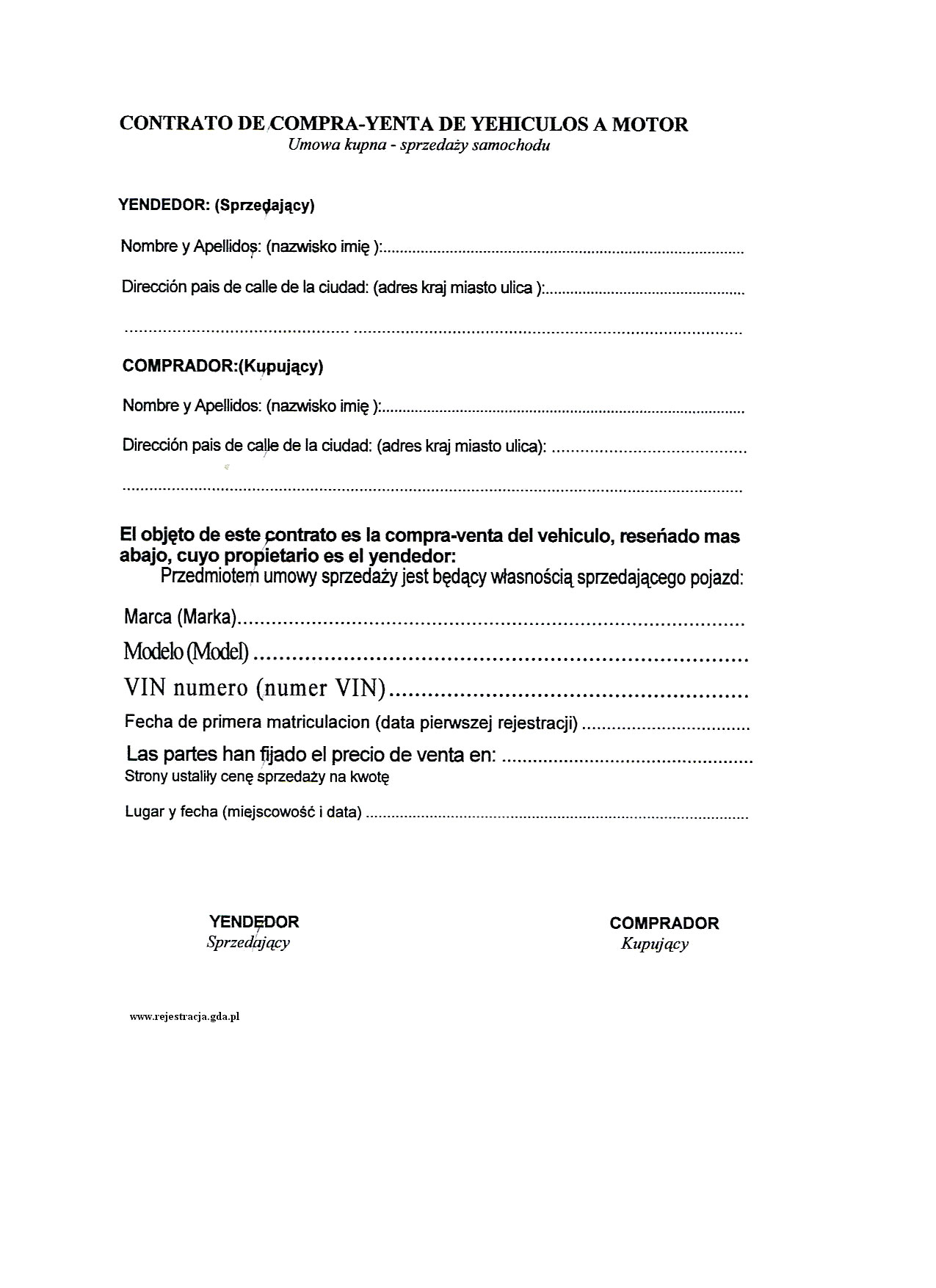 Tłumaczenia Umów Kupna Sprzedaży Samochodu